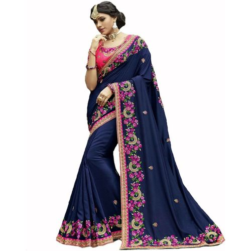 Kanha Fashion Embroidered Fashion Poly Silk Saree(Dark Blue)