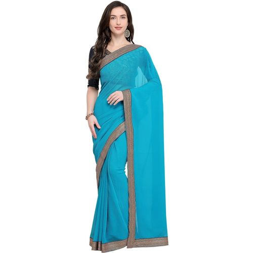Anand Sarees Solid Fashion Poly Georgette, Chiffon Saree(Light Blue)