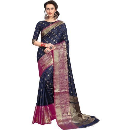 Rola Trendz Self Design, Embroidered, Woven, Embellished Banarasi Jacquard, Art Silk, Poly Silk, Cotton Silk Saree(Dark Blue)