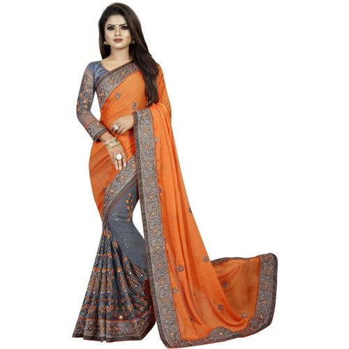 Avsar Prints Embroidered Bollywood Net, Raw Silk Saree(Orange, Grey)