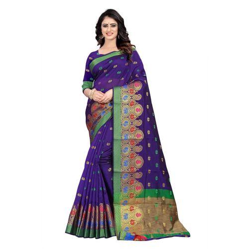 SHOBHA SAREE Self Design Banarasi Cotton Silk Saree(Purple)
