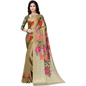 Saara Printed, Floral Print Fashion Pure Satin Saree(Beige)