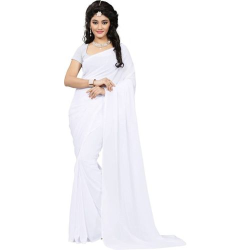 fantasy fab Solid Daily Wear Poly Georgette Saree(White)