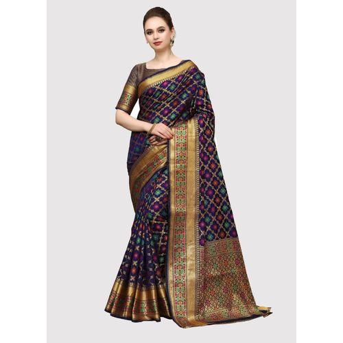 Sanku Fashion Self Design, Woven, Embellished Kanjivaram Silk Blend, Poly Silk Saree(Dark Blue)