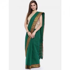 Pavechas Solid Venkatagiri Handloom Pure Cotton Saree(Dark Green)