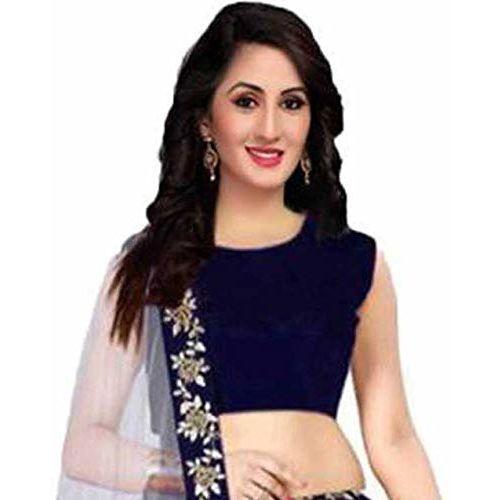 Aayan export Blue Silk Embroidered Semi-Stitched Lehenga Choli