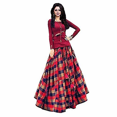 Arohi fab Women's Banglori Satin Lehenga Choli (Red, Free Size)