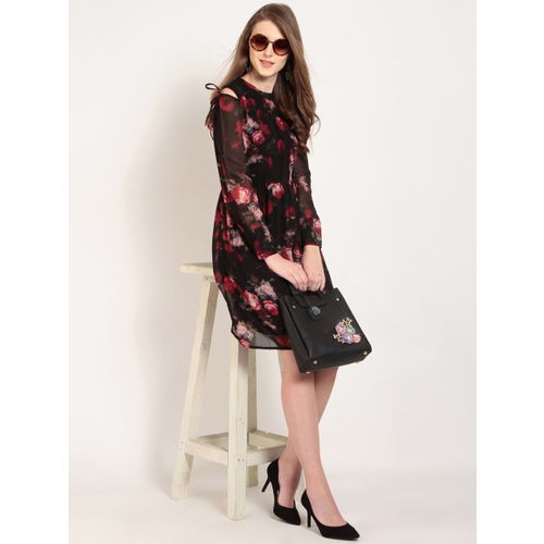 RARE Women Black Printed Fit and Flare Dress