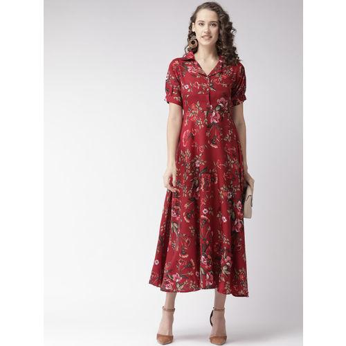 U&F Women Maroon & Olive Green Printed Maxi Dress