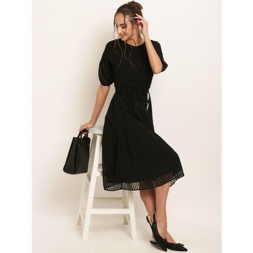 RARE Women Black Self Design Fit and Flare Dress