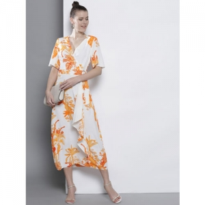 DOROTHY PERKINS Women White & Orange Printed Wrap Dress