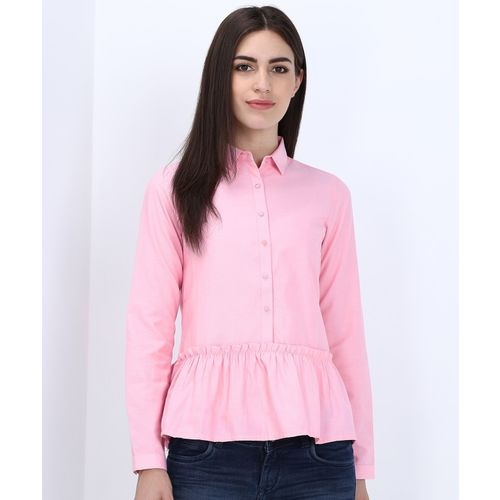 Park Avenue Women Solid Casual Pink Shirt