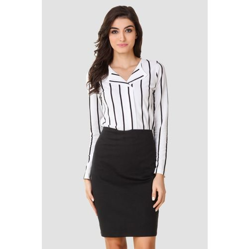Texco Women Striped Casual Black, White Shirt