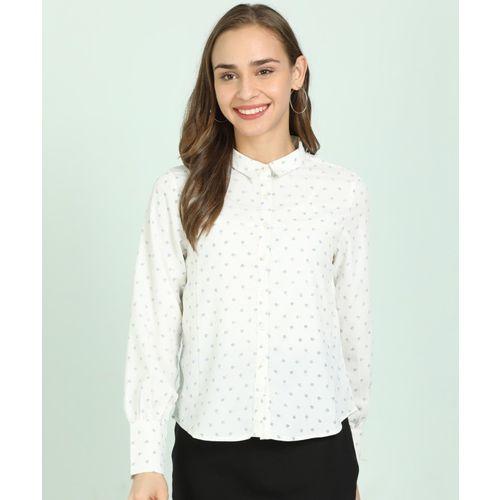 Van Heusen Women Printed Casual White Shirt