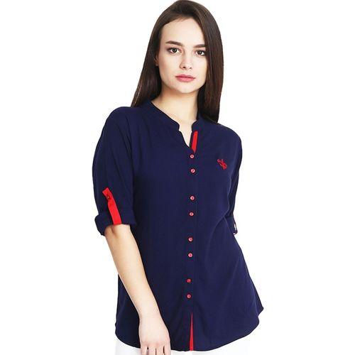 Mitaha Women Color Block Casual Blue Shirt
