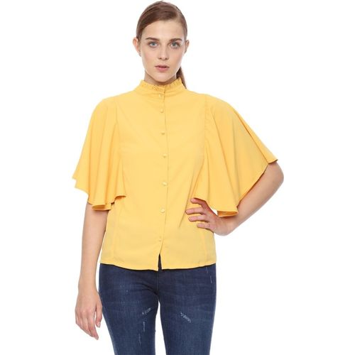 Van Heusen Women Solid Casual Yellow Shirt