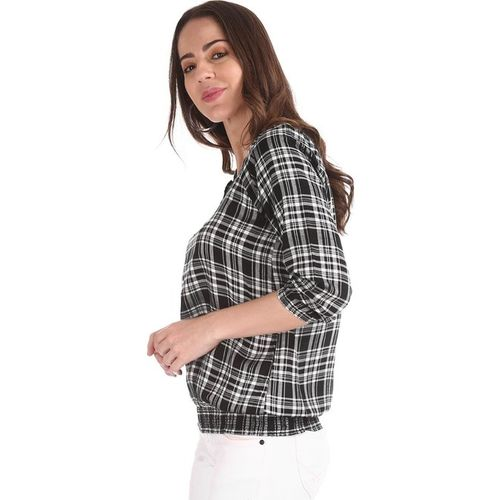 Cherokee by Unlimited Black & White Checks Top