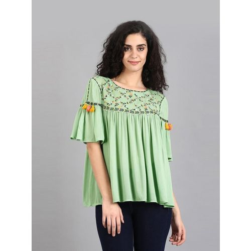 W Green Embroidered Top