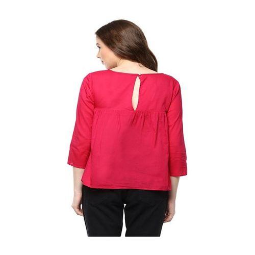 The Vanca Fuchsia Embroidered Top