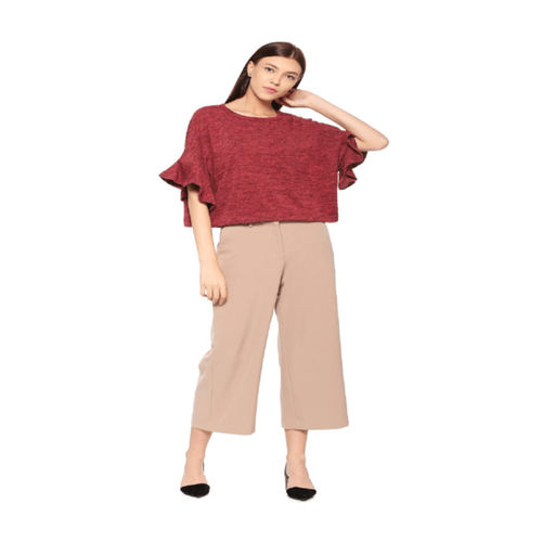 Solly by Allen Solly Maroon Textured Top
