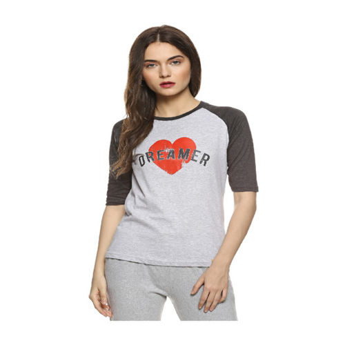 Campus Sutra Charcoal Printed Top