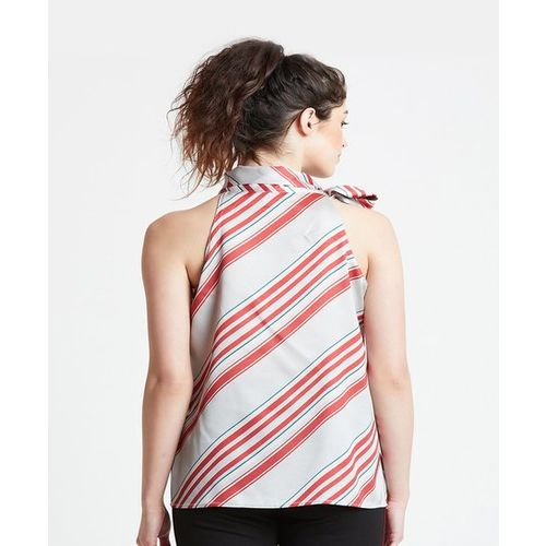 Cover Story Grey & Red Cotton Striped Top