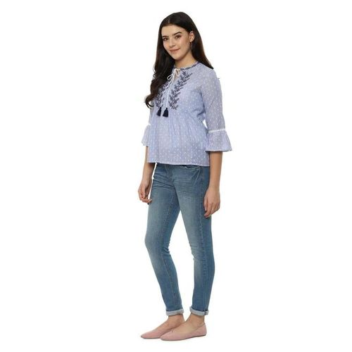 People Blue Embroidered Top