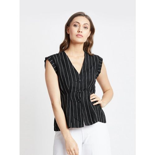 Cover Story Black Linen Striped Top