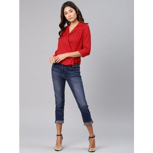 NUSH Red Regular Fit Top