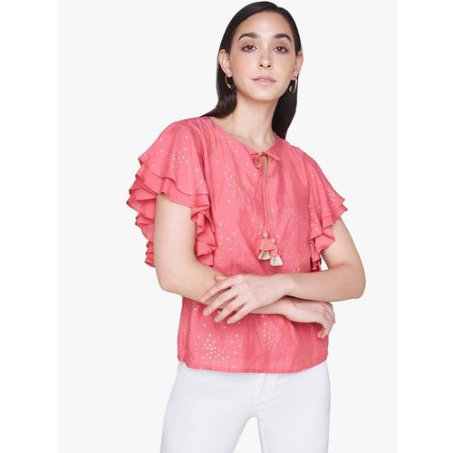 AND Light Pink Printed Top