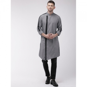 The Indian Garage Co Grey Cotton Solid Straight Kurta