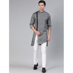 Freehand Grey & White Cotton  Printed Kurta with Pyjamas