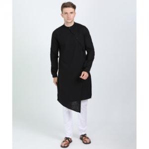 The Indian Garage Co Black Cotton  Kurta and Pyjama Set
