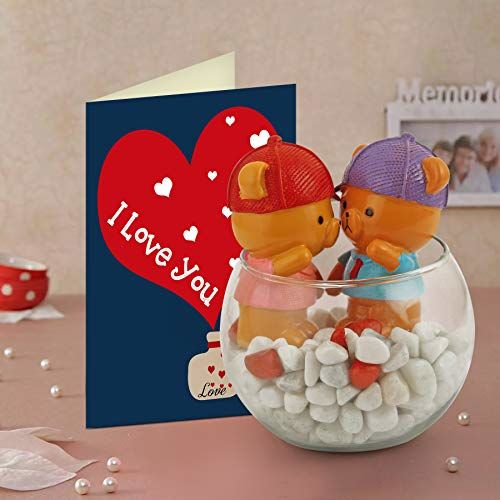 TIED RIBBONS Valentine Day Gift for Girlfriend Boyfriend Girls Boys - Romantic Gift Pack (Teddy Couple Showpiece Figurine with Glass Vase and Valentine Special