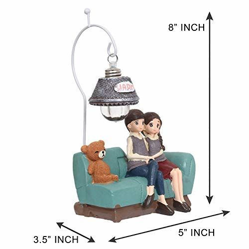 Webelkart Resin Cute Romantic Valentine Love Couple Sitting Statue Showpiece Gifts; 21 cm; Multicolour