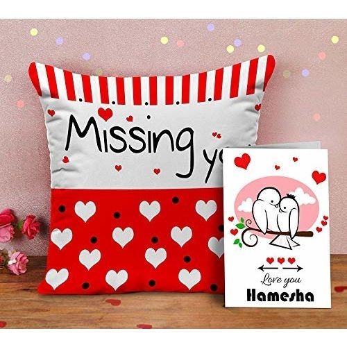 TIED RIBBONS Valentine Gifts for Girlfriend Boyfriend Husband Wife Him Her - Valentines Special Printed Cushion with Filler and Greeting Card