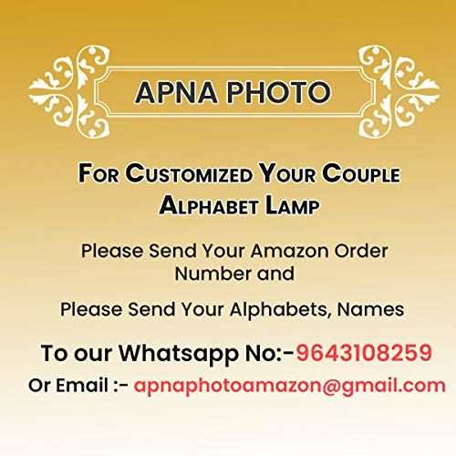Apna Photo Wooden Brown Personalized Couple Alphabets LED Night Lamp