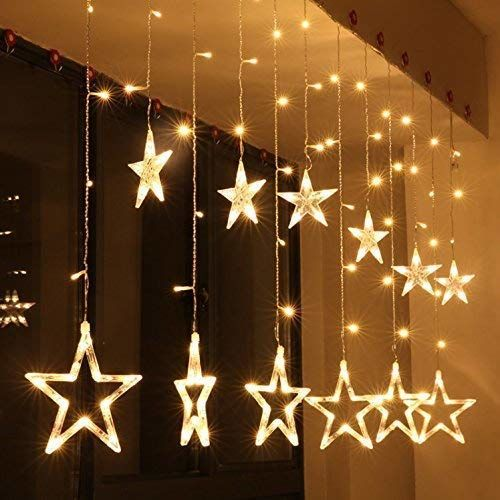 CC Arts 138 LED Curtain String Lights with 8 Flashing Modes Christmas Decoration
