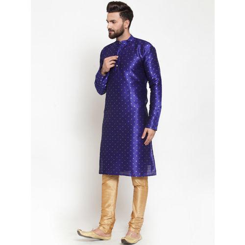Jompers Men Blue Woven Design Straight Kurta