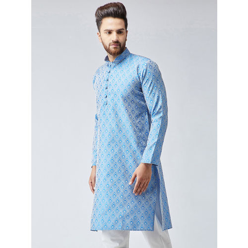 Jompers Men Turquoise Blue Woven Design Straight Kurta