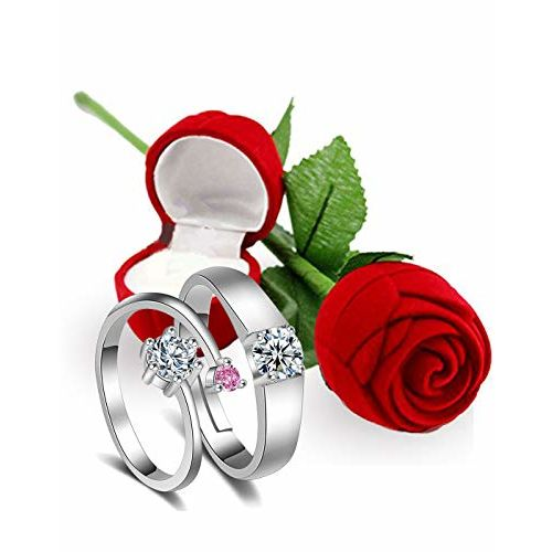 Karatcart Valentine's Day Gift Hamper of Couple Ring with Red Rose Gift Box for Boyfriend/Girlfriend/Gift