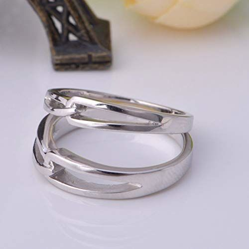 Peora 316L Stainless Steel White Gold Plated Knot Couple Rings for Engagement Proposal Valentine Day Gift