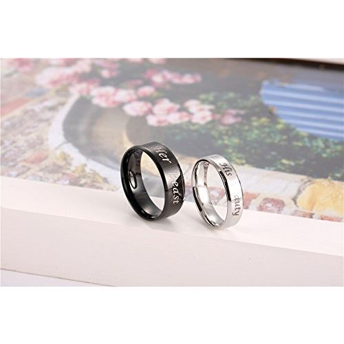 Moneekar Jewels 2pcs His Beauty Her Beast 316L Stainless Steel Couple Rings for Lovers