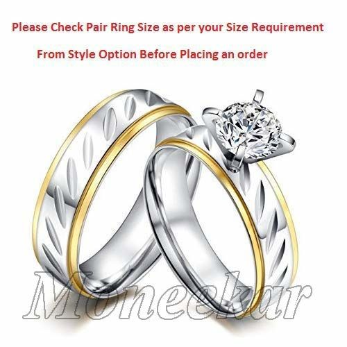 2 pcs Moneekar Jewels Matching Set Solitaire Style 316L Stainless Steel Promise Rings Engagement Band Valentine's Day Friendship Day Gifts Couples Rings