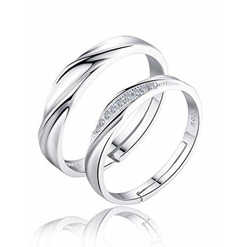 karatcart Platinum Plated Silver Crystal Elegant Couple Adjustable Ring for Men and Women