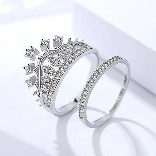University Trendz Silver Metal Queen Crown Pattern Ring for Women (9.0)