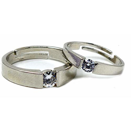 ME & YOU Silver Plated Love Couple Rings for Men and Women (Adjustable)
