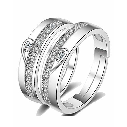 Karatcart Platinum Plated Elegant 2 Pcs His and Her Heart Shape Matching Adjustable Promise Ring Set Anniversary Engagement Couple Soltiare Ring