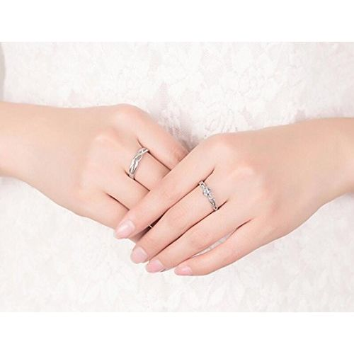 Karatcart Platinum Plated Elegant Couple Adjustable Solitare Ring