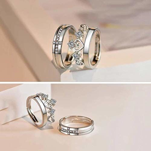 RV Media White Sparkling Crystal Heart Crown and Cross Design Adjustable Couple Ring for Men and Women